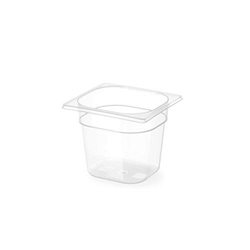 HENDI Gastronormbehälter, Temperaturbeständig von -40° bis 80°C, Skalierung, Geruchs- und geschmackneutral, 3,4L, Polypropylen, GN 1/6, 176x162x(H)200mm, Transparent
