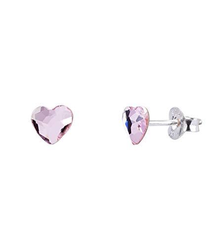 SIX Ohrstecker aus 925er Silber [Geschenk Idee für Frauen] - Schmuck - » Swarovski® Kristallen in Herzform « - amethystfarbenen, kunstvoll geschliffenen Kristalle – Ohrschmuck (773-744)