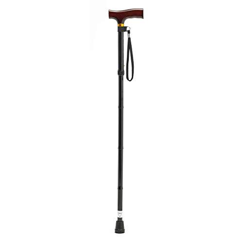 Patterson Medical wandelstok, inklapbaar, met houten handvat en zwarte schacht