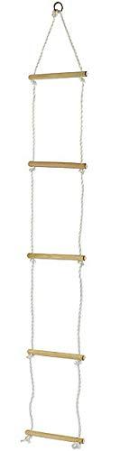 Playtastic Kletterleiter: Strickleiter mit 5 Holzsprossen für Kinder (Seilleiter)