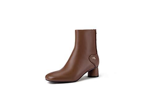 AJOY SAHU Botines de piel de napa de alta gama con diseño elegante y cierre fácil, color Marrón, talla 35.5 EU