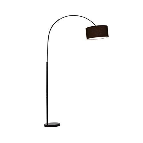 HYQQ Lámpara de pie con Pantalla Textil de Arco, Base de mármol, Cromado, Regulable en Altura, Extensible 158-175 cm, Casquillo E27, Clase energética A