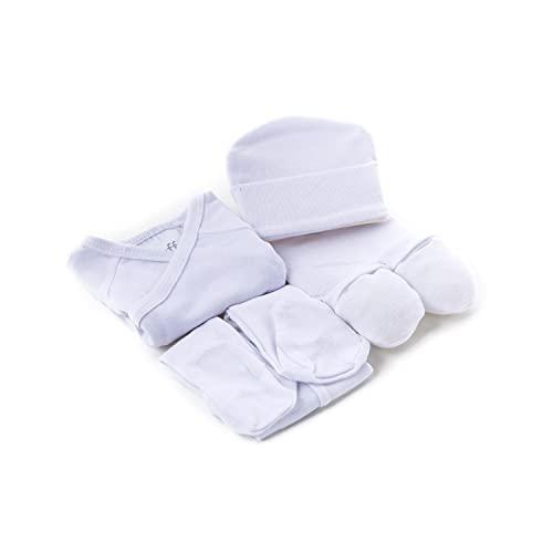 Duffi Baby 1310-01 - Set de Regalo 100% Algodón (5 Piezas) Liso, blanco, unisex