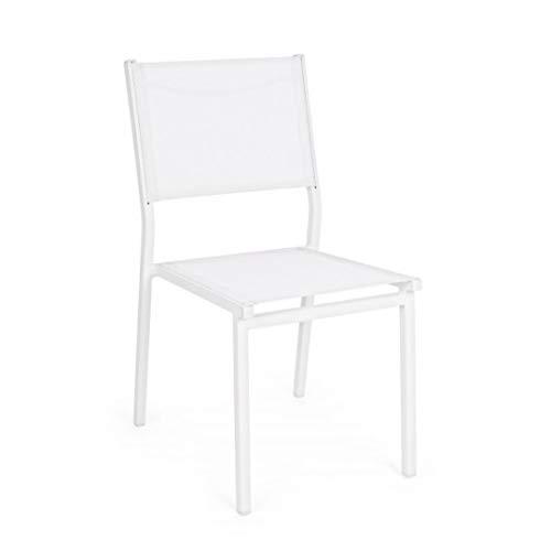 Sedia da Esterno Giardino Alluminio e Tessuto Hilde Bianco Set 4 Sedie Bizzotto
