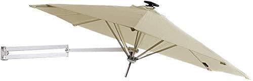 CYSHAKE Sombrillas 2.5m Jardín Balcón Mitad semicircular Paraguas con manivela, Parasol Redondo Circular de Semi for al Aire Libre Patio terraza pequeña, de Color Caqui Sombrilla para Patio UV