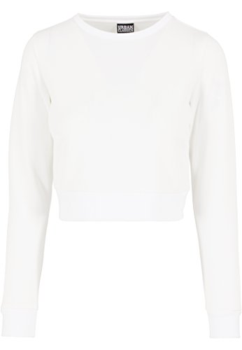 Urban Classics Damen Pullover Pullover Scuba Cropped Crew weiß (Offwhite) Medium