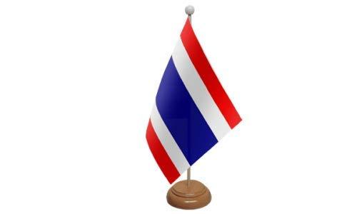 Flagmania® Drapeau de Table Thaïlande avec Support en Bois + Badge Bouton 59 mm