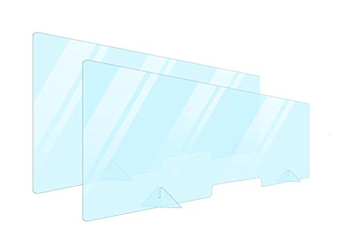 2 Pack Plexiglass Barrier For Counter Plexi Glass Screen 60x24 Desk Shields Sneeze Guard Shield For Counter Plexiglass Divider For Desk Sneeze Guards For Countertops Multiple Sizes