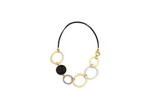 NIEVOS JEWELRY Collar corto de oro de 24 quilates, chapado en plata 925 y círculo de 30 mm con cristales de Swarovski negros, joyería de lujo para ella hecha a mano en Israel