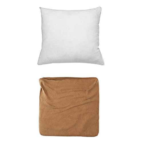 Cojines Sofa con Relleno Incluido Pack de Cojin + Funda de 45x45 en Color Camel / Cojines Decorativos para Sofa , Cama , Salon / Fundas de Terciopelo Elegantes para la decoración del hogar