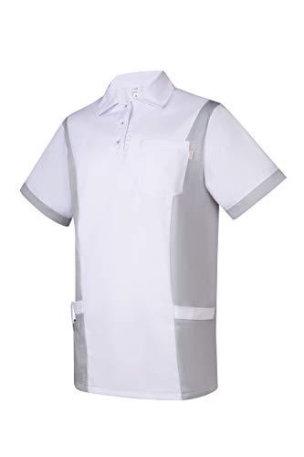 Clinotest Herrenkasack Julius, Gesundheitswesen, für die Pflege, Berufsbekleidung, in Trendfarben (M, weiß/grau)