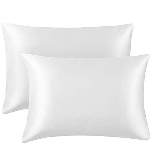 Hansleep Funda Almohada 50x70 cm de Satén Blanco, 2 Fundas Almohadas Sedoso 70x50 para Pelo Rizado - Juego de Protector Almohada 70x50 Liso Suave con Cremallera