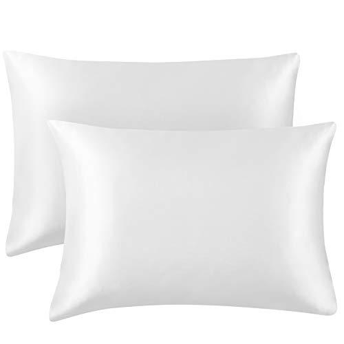 Hansleep Funda Almohada 40x70 cm de Satén Blanco, 2 Fundas Almohadas Sedoso 70x40 para Pelo Rizado - Juego de Protector Almohada 70x40 Liso Suave sin Cremallera