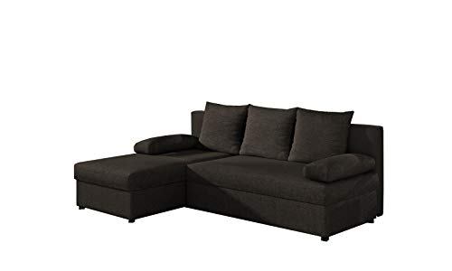 MOEBLO Ecksofa mit Schlaffunktion mit Bettkasten Couch L-Form Polstergarnitur Wohnlandschaft Polstersofa mit Ottomane Couchgranitur - ARON (Dunkelbraun...