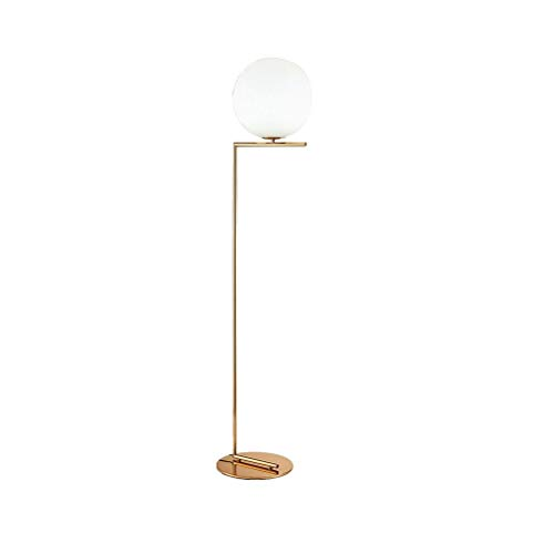 LY88 licht E27 creatief glas ronde bal nachtkastje staande lamp 1-licht warm licht staande lamp met ronde basis in messing 0702P grootte: S