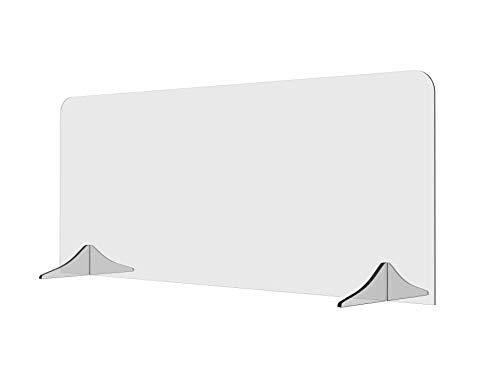 Solarplexius Trennwand Hustenschutz Niesschutz Virenschutz für Schreibtisch und Büro Thekenaufsatz Tischaufsatz Tresenaufsatz Antibakteriell Transparent Acrylglas (150 x 60 cm)