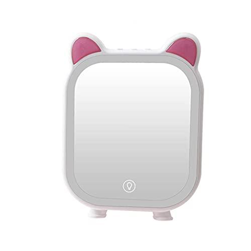 LYMHGHJ Espejo de tocador de Escritorio multifunción, luz de Relleno led Espejo de Maquillaje Lámpara de Mesa Musical Espejo de Maquillaje con Carga USB, Blanco