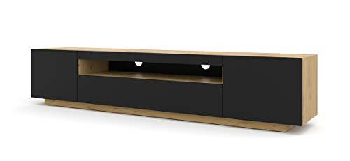 TV LOWBOARD Schrank 200 cm TV Tisch Sideboard TV Kommode HiFi-Tisch Artisan Eiche Schwarze Fronten freistehender Schrank (Artisan Eiche ohne Blauer Beleuchtung)