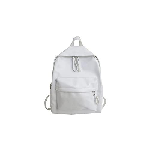 moda preppy estilo mujeres mochila cuero escuela mochila mochilas para los profesores gilrs gran capacidad pu viaje mochila, color Blanco, talla Talla única