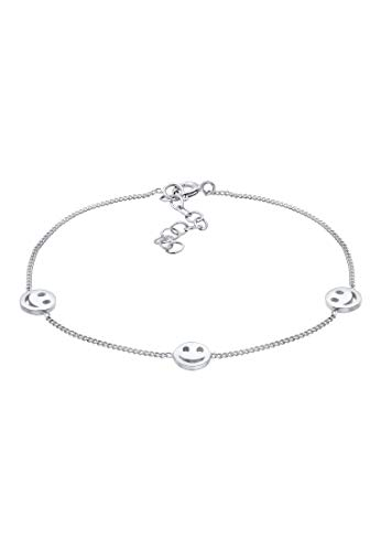 Elli Armband Smiley Plättchen Basic Blogger Trend 925 Silber