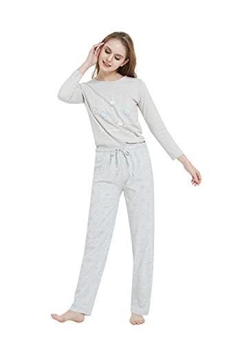 PimpamTex – Pijama de Mujer Invierno Algodón de Otoño-Invierno Camiseta Manga Larga y Pantalón Largo Estampados de Tacto Suave (Universo Perla, l)