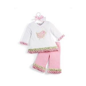 Mud Pie Baby Lil' Chick Cotton Long Sleeve Tunic and Flare Pants Set, Pink,...