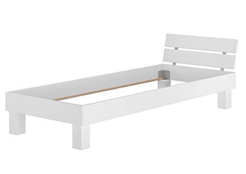Erst-Holz® Massivholzbett Buche weiß Bettgestell Holzbett 100x200 Einzelbett ohne Zubehör 60.86-10WoR