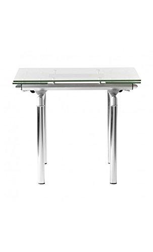 CAMINO A CASA - Petite Table à rallonges Verre rectangulaire Fusion 90-140 cm