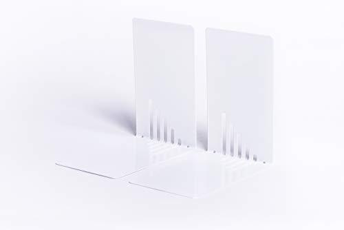 Maul Buchstütze Metall, schmal, 85 x 140 x 140 mm, weiss, 1 Paar, 3501002