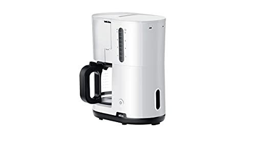 Braun Breakfast1 Cafetera de Filtro, AromaCafe, Sistema OptiBrew, Apagado Automático, Cafetera hasta 10 Tazas, Jarra de Vidrio Apta para el Lavavajillas, 1000W, Blanco