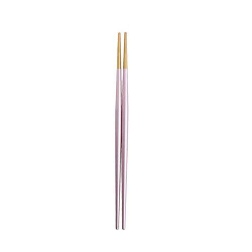 UPKOCH金属製の箸再利用可能な箸ステンレス鋼の箸和風の滑り止めの箸ピンクとゴールド