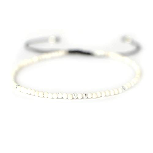 Sovats Howlith Einstellbare Armband 925 Sterling Silber Geflochtene Schnur Armband Für Frauen Männer Mädchen Jungen