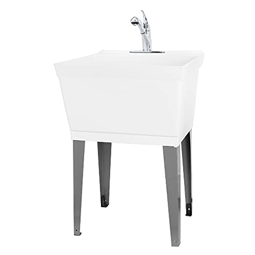 Utility Sink Laundry Tub with Pull Out Spout by Vetta, Chrome Faucet, Heavy Duty Free Standing Slop Sinks for Basement, Workshop, Garage