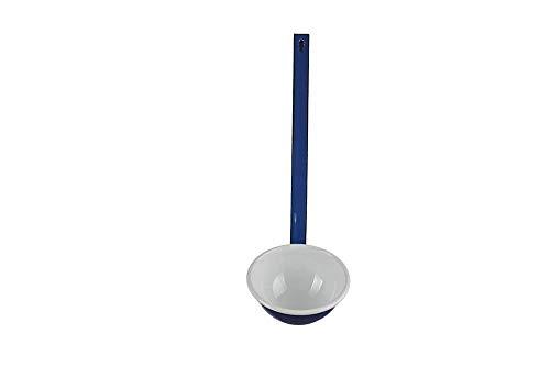 Münder Emaille - Suppenkelle, Schöpflöffel, Schöpfkell - Farbe: Weiß/Blau - nostalgisch - Länge: 35 cm