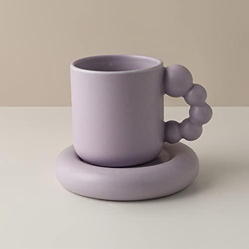 LTE Taza y Placa Creativa de 325 ml con la Placa de la Bola de Giro de la Bola nórdica decoración nórdica Artesanal artesanía Artesanal de la Taza de té de la Bandeja de los Regalos Personalizados