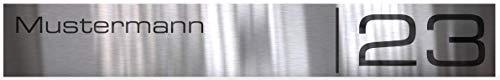 Großes Edelstahlschild mit Gravur eckig | Namensschild für Briefkasten mit Klebestreifen individuelle Größen und Schriftarten Klingelschild mit Namen oder Logo gestalten (V2A 37,00x5,50 cm)