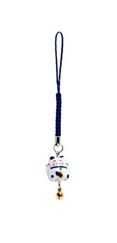 Pamai Pai® Keramik Anhänger Blau Glückskatze Maneki Neko Winkekatze Katze Handyanhänger
