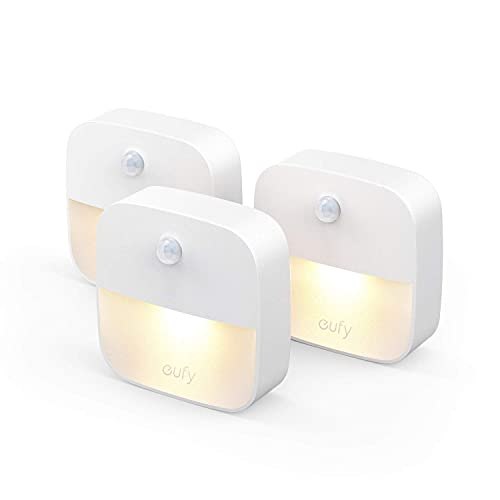 [3 unidades] eufy de Anker, Lumi luz nocturna adhesiva, LED blanco cálido, sensor de movimiento, dormitorio, baño, cocina, pasillo, escaleras, eficiencia energética, compacto
