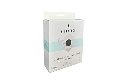 AIRNATECH AIR-E013 FFP2 Mascarillas FFP2 Homologadas - Normativa EN149 - 5 Capas de 95% Filtración Bacteriana - 01 Negro - Pack 10 unidades
