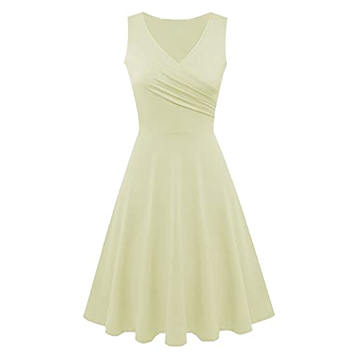 KeYIlowys Damen Sommer Freizeitkleid V-Ausschnitt äRmellos Elegantes Wickelkleid Midi