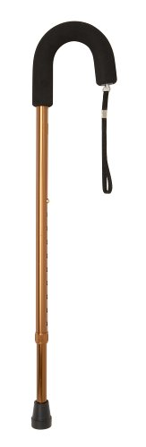 DMI Deluxe Adjustable Metal Classic Walking Cane, Walking Stick, Foam Padded Grip, Bronze