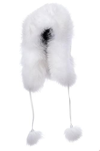 Sombrero de bombardero de piel de zorro real para mujer, clima mapache piel orejera, cálido trampero sombrero de nylon Shell con piel Pom