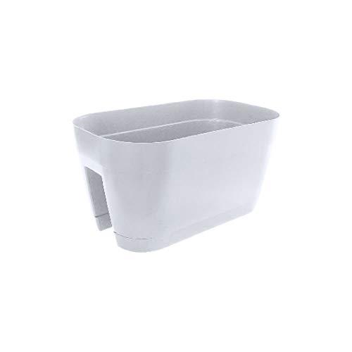 vasar Vaso Ovale da ringhiera in plastica con sottovaso MOD. Orlando Bianco cm 45