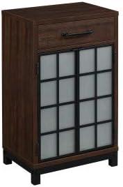 Uptown Loft Home Office Furniture Cabinet Bottle Wine Storage Saw Cut Espresso Wine Cabinet product image