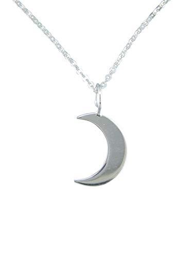 Sicuore Collier avec pendentif demi-lune en argent sterling 925 - Avec chaîne de 45cm et coffret cadeau - Pour hommes et pour femmes