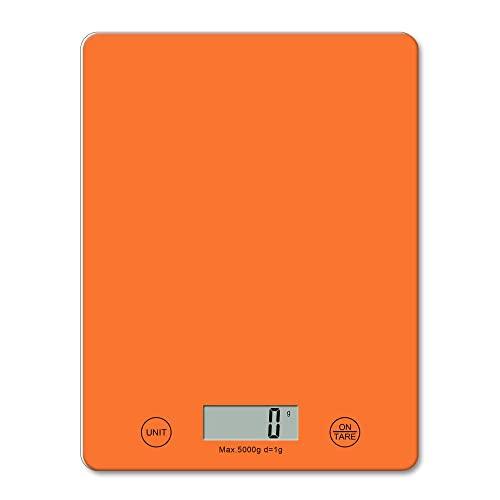 Básculas de Cocina Digitales u2013 Pesaje electrónico de Alimentos, Báscula de Cocina de diseño Delgado para el hogar, Pantalla LCD, Agregar y Pesar, Fácil Limpieza - Naranja
