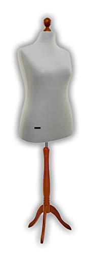 LUCCESI - Schneiderpuppe Damen/Herren Schneiderbüste Größe/Size S, M, M-L, L, L-XL, XL (44-46) Büste mit Bezug Creme-Weiss und Standfuss Calvados