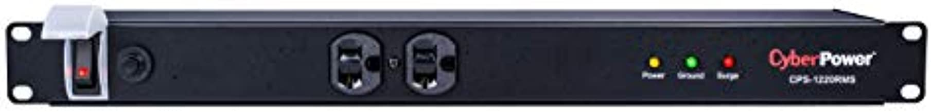 CyberPower CPS1220RMS Surge Protector, 120V/20A, 12 Outlets, 15ft Power Cord, 1U Rackmount, Black