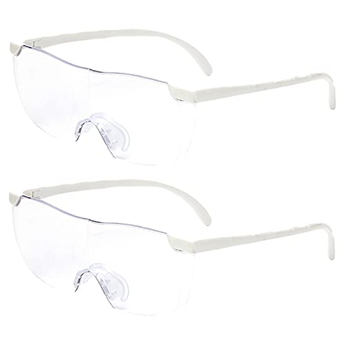 Paquete de 2 lupas con 160% más claras para lectores, mujeres, hombres, niños pasatiempos de lectura y trabajo cercano, gafas de visión grande manos libres blanco