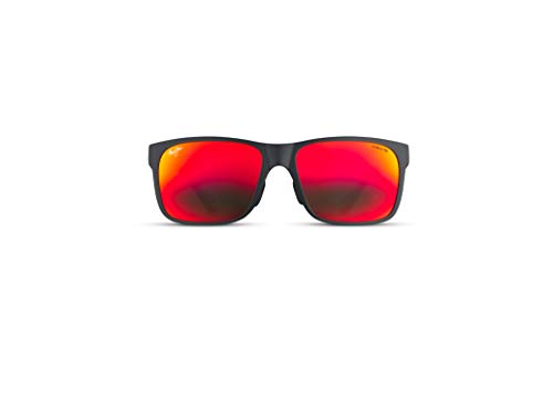 Maui Jim - Gafas de sol rectangulares unisex para adulto con diseño de arena roja, ajuste asiático, Rojo (Negro mate con goma negra Utd/Hawaii Lava Polarizada), Medium